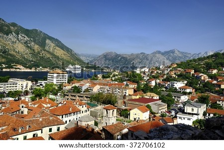 Cruise ship in the fjord outside of Kotor - stock photo