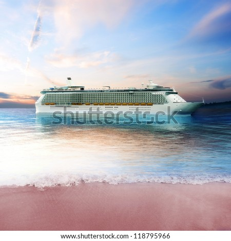 Cruise ship just off the coast of an island with tranquil view - stock photo