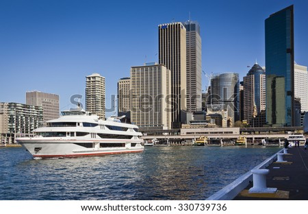 Cruise ship leaves Circular Quay in Sydney New South Wales, Australia. - stock photo