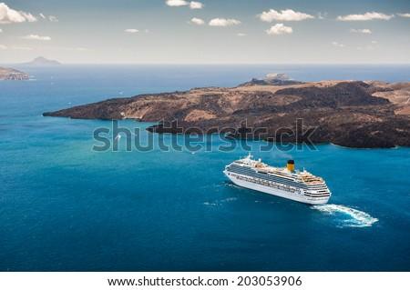 Cruise ship near the Greek Islands  - stock photo