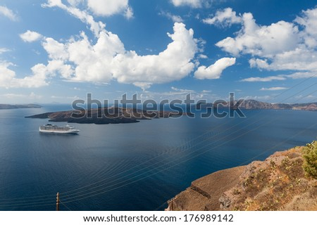 Cruise Ship off the coast of Santorini Greece
