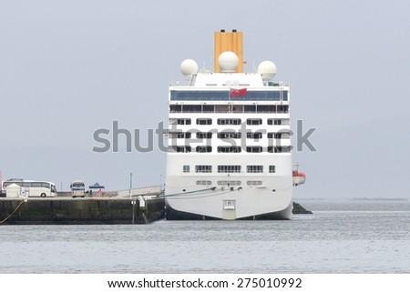 cruise ship on a mooring - stock photo