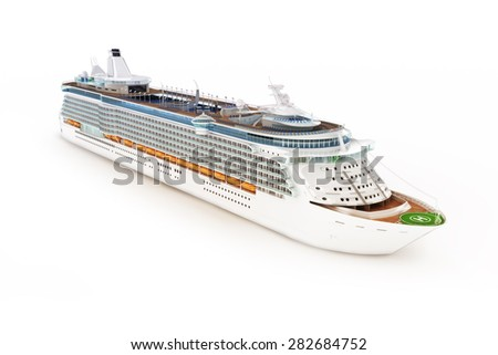 Cruise ship on an isolated white background. - stock photo