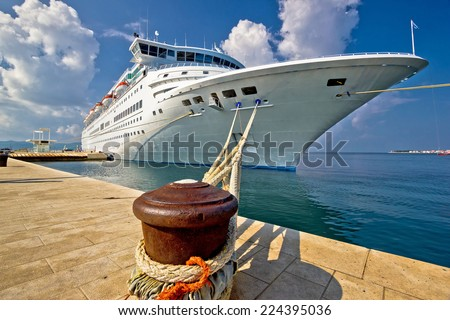 Cruise ship on dock in Zadar, Dalmatia, Croatia - stock photo