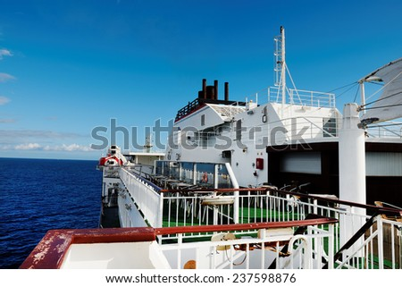 Cruise ship on the ocean - stock photo
