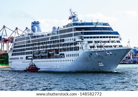 Cruise ship Pacific Princess in port of Odessa, Ukraine.
