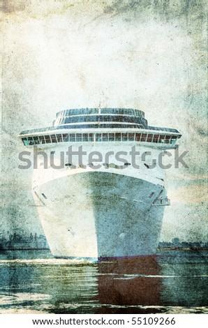 Cruise ship.Photo in vintage image style. - stock photo