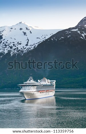Cruise ship prepares to make port in Skagway, Alaska - stock photo