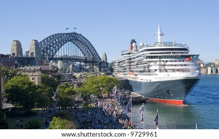 Cruise ship Queen Victoria of the cunard ship fleet docked in Sydney Harbour ( harbor) on a beautiful Blue Day , February 24th 2008. - stock photo