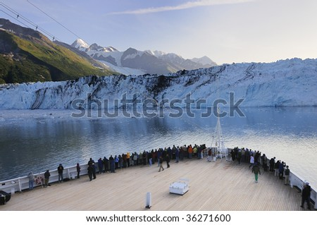 Cruise ship stops at Alaska Glacier Bay National Park - stock photo