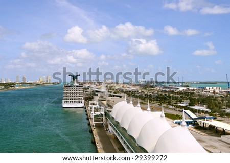 cruise ship terminal in miami florida - stock photo