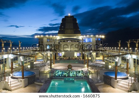 Cruise ship top deck during dusk - stock photo