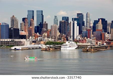 Cruise ship visiting Manhattan port. - stock photo