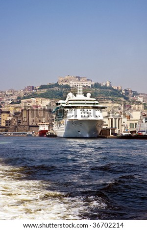 Cruise Ships at a busy port in Naples Italy
