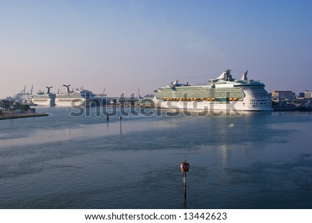 Cruise Ships Docked in Port of Miami - stock photo