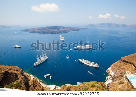 Cruise ships in Thira, Santorini island, Greece - stock photo