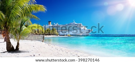 Cruise To Caribbean With Palm tree On Coral Beach  - stock photo
