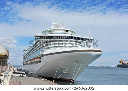 Cruise tourist ship in Black sea, Odessa, Ukraine - stock photo