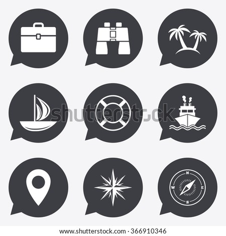 Cruise trip, ship and yacht icons. Travel, cocktails and palm trees signs. Sunglasses, windrose and swimming symbols. Flat icons in speech bubble pointers. - stock photo