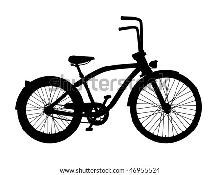 cruiser bike isolated on white silhouette - stock photo