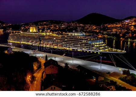 Cruiser in Dubrovnik port at night