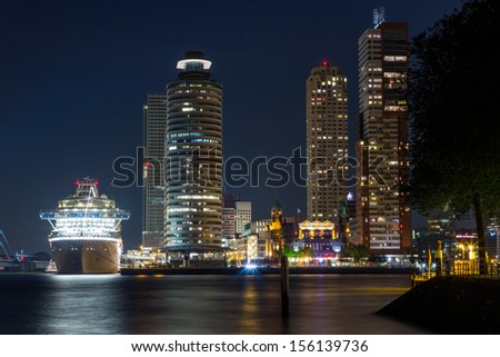 Cruiseship Crown Princess in Rotterdam  - stock photo
