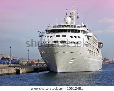 Cruiseship in Palma de Mallorca - stock photo