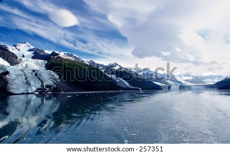 Cruising in College Fjord, Alaska.  Glaciers from left to right are: Bryn Mawr, Smith, and Havard - stock photo