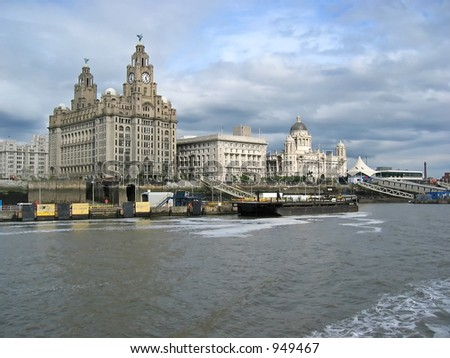 cruising on the ferry at liverpool merseyside - stock photo