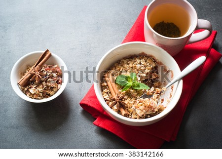 Crumble pie with apples, plum, aromatic spices and corn flakes. Healthy food dessert. - stock photo