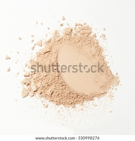 crumbled natural powder make up on white background - stock photo