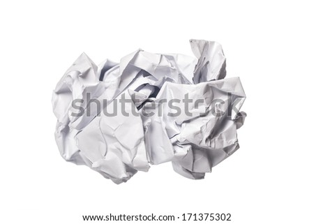 Crumbled paper over white background - stock photo