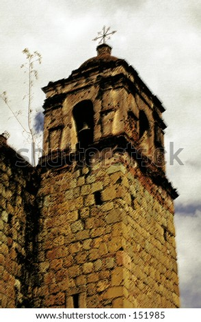 Crumbling old church belltower (photoshopped)