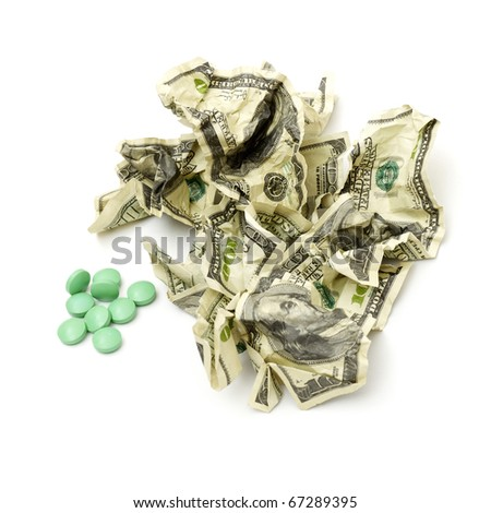 Crumpled american money isolated on white background