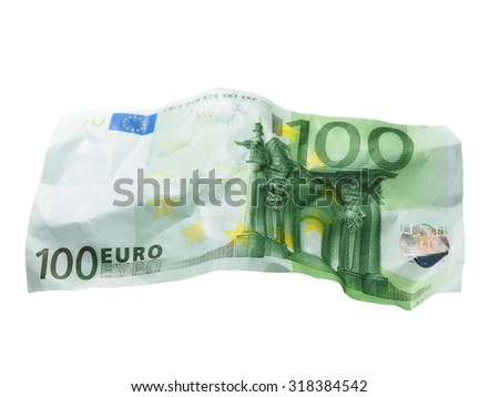 crumpled banknote 100 hundred euros isolation on  white - stock photo