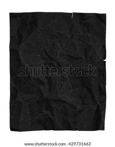 Crumpled black sandpaper, isolated on white background. crumpled paper, sandpaper - stock photo