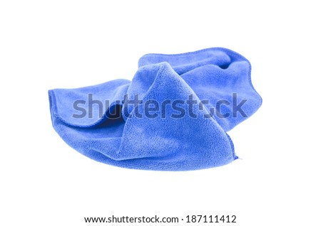 Crumpled blue microfiber cloth isolated on white background