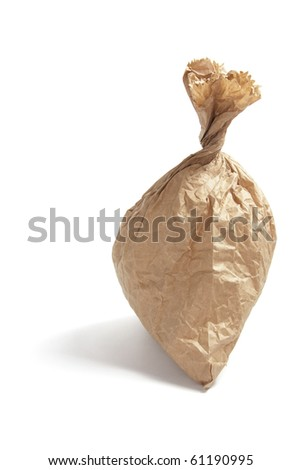 Crumpled Brown Paper Bag on White Background - stock photo