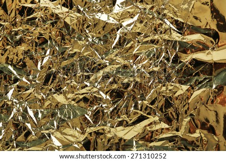 Crumpled color foil texture background - stock photo