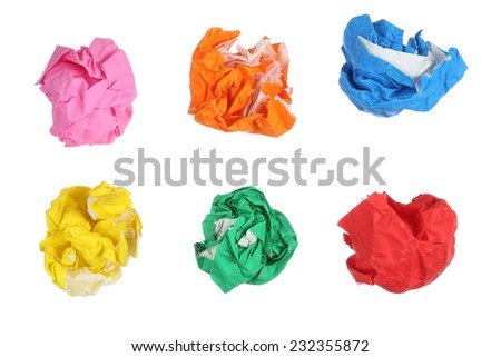 Crumpled color paper isolated on white