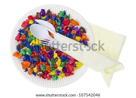 Crumpled colored  paper on plate- future food concept. Isolated
