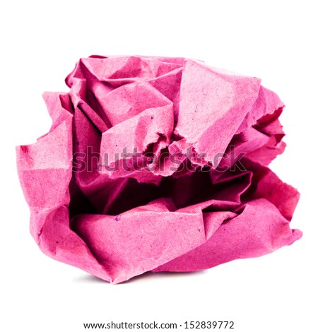 Crumpled colored  recycled paper ball isolated on white background closeup, pink color - stock photo