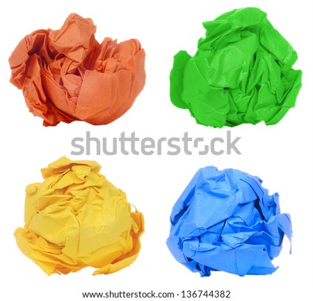 Crumpled colorful paper ball isolated on white background - stock photo