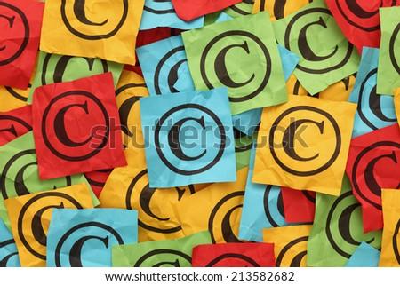 Crumpled copyright symbols. Copyright concept. - stock photo