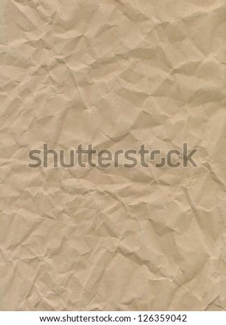 Crumpled craft paper texture - stock photo