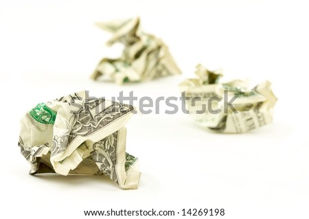 Crumpled Dollars on a White Background. - stock photo