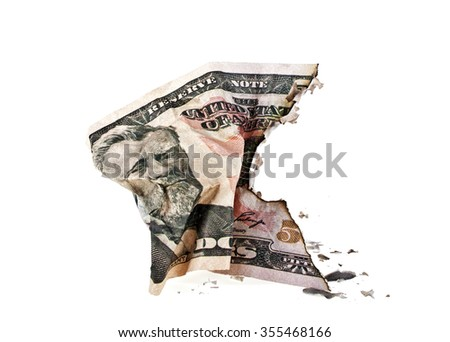 Crumpled fifty dollar bill on white background - stock photo