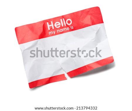 Crumpled Hello Name Tag on White - stock photo
