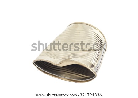 Crumpled metal tin can isolated on white background - stock photo