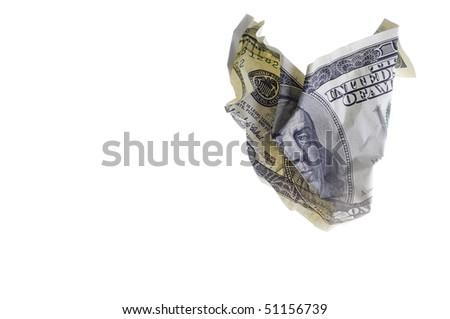 crumpled one hundred dollar bill - stock photo